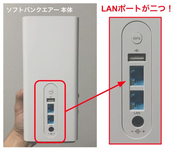 ソフトバンクエアーのLANポートはあるの?差込口は2個、オンラインゲームも有線でOK