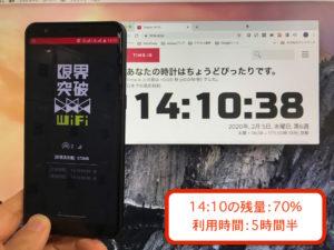 限界突破WiFiの充電が、何時間持つのか測ってしてみた!充電の所要時間なども解説します